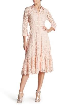 Nanette Lepore NANETTE Lace Belted Fit & Flare Dress