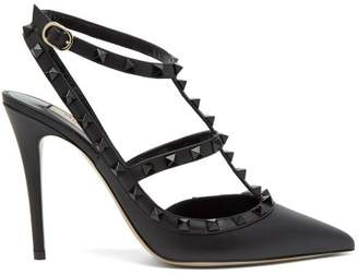 Valentino Rockstud Leather Pumps - Womens - Black