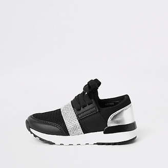 River Island Mini girls black gem strap runner sneakers