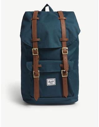 Herschel Deep Teal Blue and Tan Brown Woven Little America Canvas Backpack