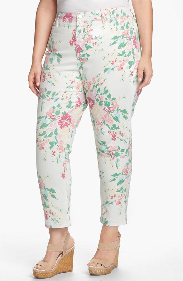 NYDJ 'Audrey' Floral Print Ankle Jeans (Plus)