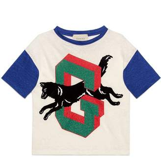 Gucci Kids Children's G wolf linen T-shirt