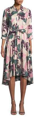 Alexis Dacio Button-Front Floral High-Low Dress