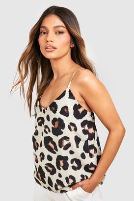 boohoo Plain Leopard Cami Woven
