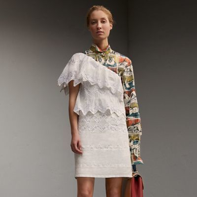 Burberry Burberry One-shoulder Cotton Voile and Lace Dress