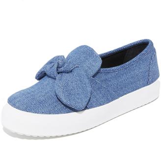 Rebecca Minkoff Stacey Denim Slip On Sneakers $130 thestylecure.com
