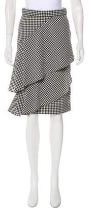Marissa Webb Gingham Knee-Length Skirt Black Gingham Knee-Length Skirt