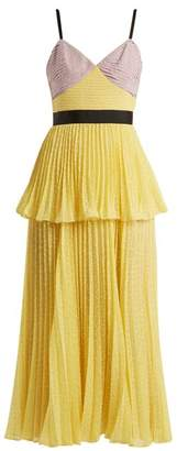Self-Portrait Self Portrait Contrast Panel Pleated Dress - Womens - Yellow