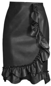 Rebecca Taylor Faux-Leather Ruffle Skirt