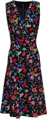 Elie Tahari Wrap-effect Floral-print Cady Dress