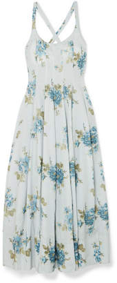 Brock Collection Daphne Floral-print Cotton-voile Midi Dress - Light blue