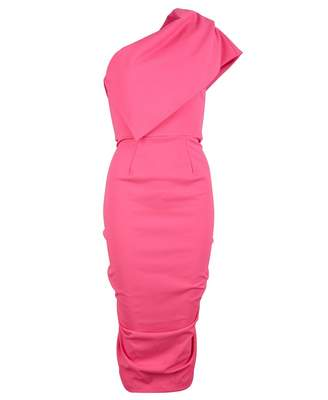 Jolaby One Shoulder Waterfall Dress Colour: BRIGHT PINK, Size: SMALL