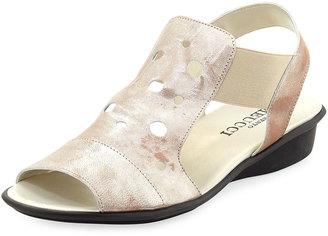 Sesto Meucci Eddy Open-Toe Perforated Sandal, Sand $149 thestylecure.com