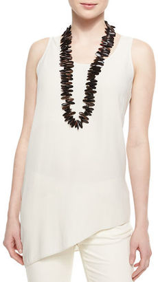 Eileen Fisher Silk Asymmetric Draped Shell $238 thestylecure.com