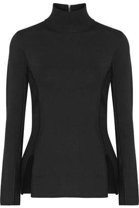 Dion Lee Pointelle-trimmed Stretch-knit Top - Black