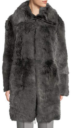 Emporio Armani Reversible Leather Shearling Fur Long Coat
