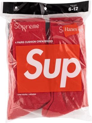 Supreme logo embroidered socks