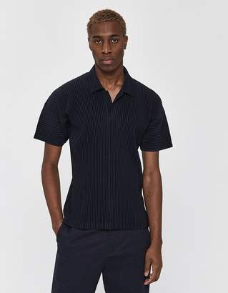 Issey Miyake Homme Plissé S/S Basics Collared Shirt in Navy