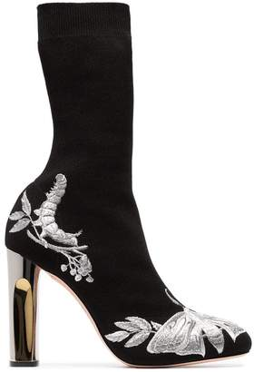 Alexander McQueen black 105 floral embroidered sock boots