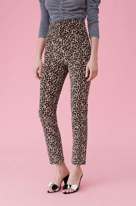 Rebecca Taylor Leopard Print Velveteen Pant
