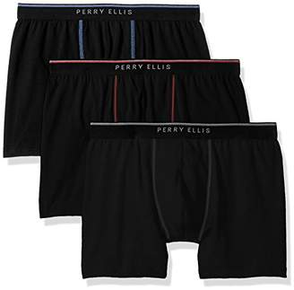 Perry Ellis Men's Portfolio 3 Pack Cotton Stretch Dual Tip Solid Boxer Briefs