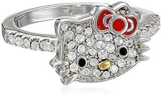 Hello Kitty Czech Crystals Flat Pave Face and Red Girl's Bow Ring