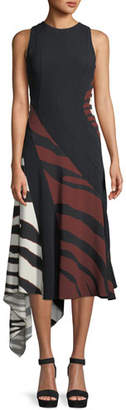 Roberto Cavalli Sleeveless Double Stretch Crepe Zebra-Print Midi Dress
