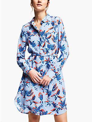 Marella Palm Print Silk Belted Shirt Dress, Light Blue
