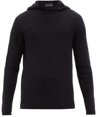 Iris von Arnim Pearson Ribbed Cashmere Hooded Sweater - Mens - Navy