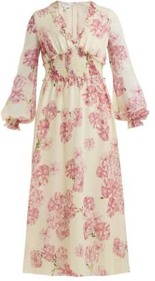 Giambattista Valli Peony Print Silk Chiffon Midi Dress - Womens - Ivory Multi
