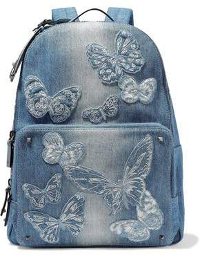 Valentino Studded Appliquéd Leather-Trimmed Denim Backpack