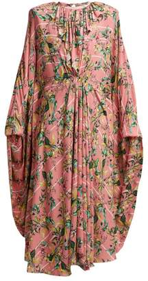 Vetements Floral Print Pleated Jersey Midi Dress - Womens - Pink Multi