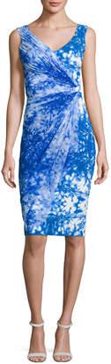 Chiara Boni Naomi Printed Faux-Wrap Sheath Dress, Blue