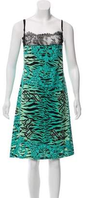 Versace Lace Trimmed Printed Dress