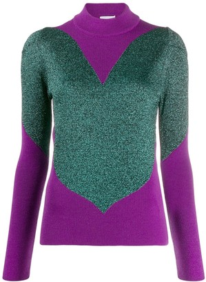 GCDS panelled metallic sweater