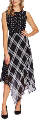 Vince Camuto Mixed-Print Asymmetrical Dress