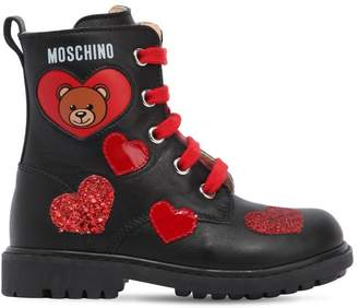 Moschino Heart Bear Nappa Leather Combat Boots