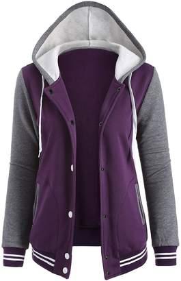 Fashion style Women's Fashion Fleece Varsity Baseball Sport Uniform Hoodie Jacket