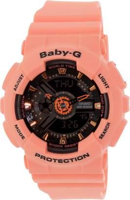 Casio Women's Baby-G BA111-4A2 Coral Rubber Quartz Watch