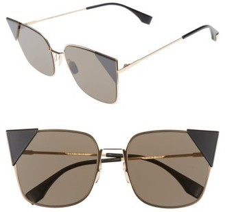Women's Fendi 55Mm Tipped Cat Eye Sunglasses - Rose Gold $550 thestylecure.com