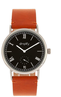 Simplify Quartz The 5100 Black Dial, Genuine Camel Leather Watch 40mm