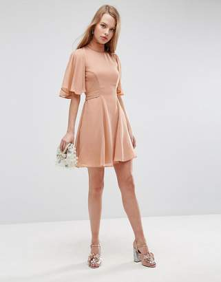 Asos Design High Neck Flutter Sleeve Open Back Mini Dress