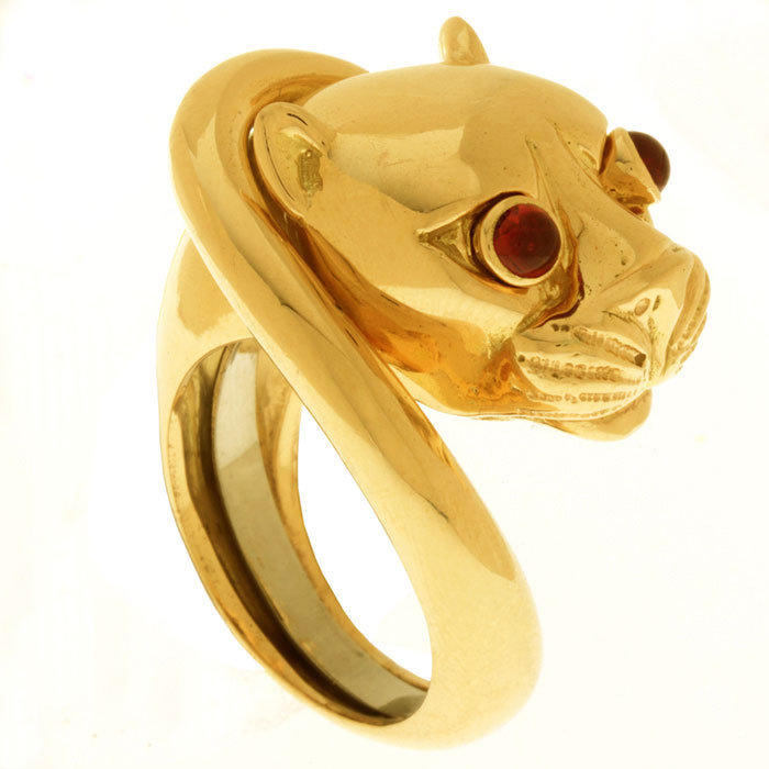 18kt. Yellow gold cougar ring with ruby eyes by David Webb