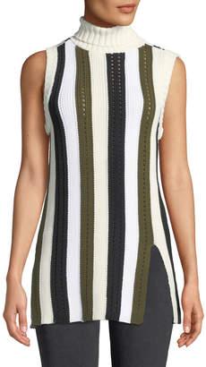 Derek Lam 10 Crosby Sleeveless Striped Turtleneck Sweater