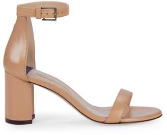 Stuart Weitzman Adelaide Leather Block-Heel Sandals