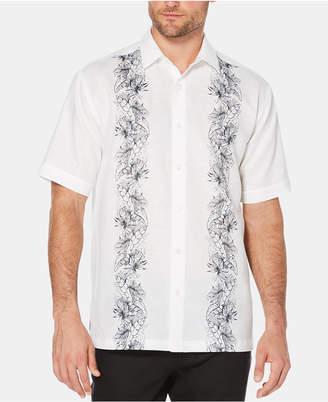 Cubavera Men's Big & Tall Floral-Print Stripe Short-Sleeve Linen Shirt