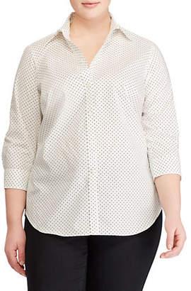 Lauren Ralph Lauren Plus Dotted Cotton Button-Down Shirt