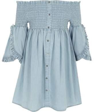 River Island Girls blue shirred bardot denim dress