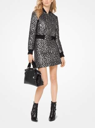 MICHAEL Michael Kors Metallic Leopard Jacquard Mini Skirt
