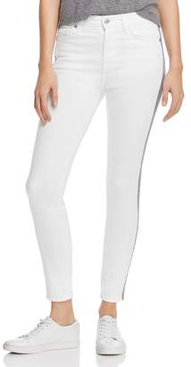 7 For All Mankind High Rise Racing Stripe Skinny Jeans in White Runway